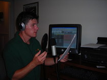 Kevin recording in home studio cv