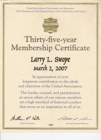 35 year membership 2007 cv