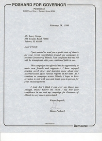 Political letter from poshard for governor cv