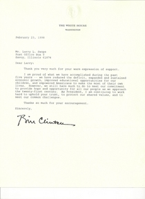 Political letter from president clinton cv
