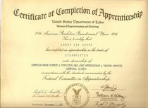 Training certificate of completion of apprenticeship cv