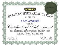 Kaizen certificate 003 cv
