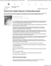Doctors aim to better diagnose troubling sleep apnea   online.. cv