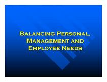 Balancing personal management and employee needs 001 cv