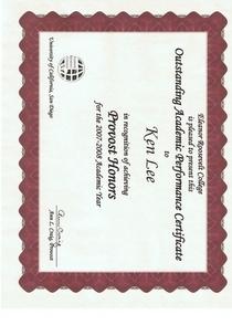 Provost honor cv