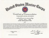 Certificate of commendation cv